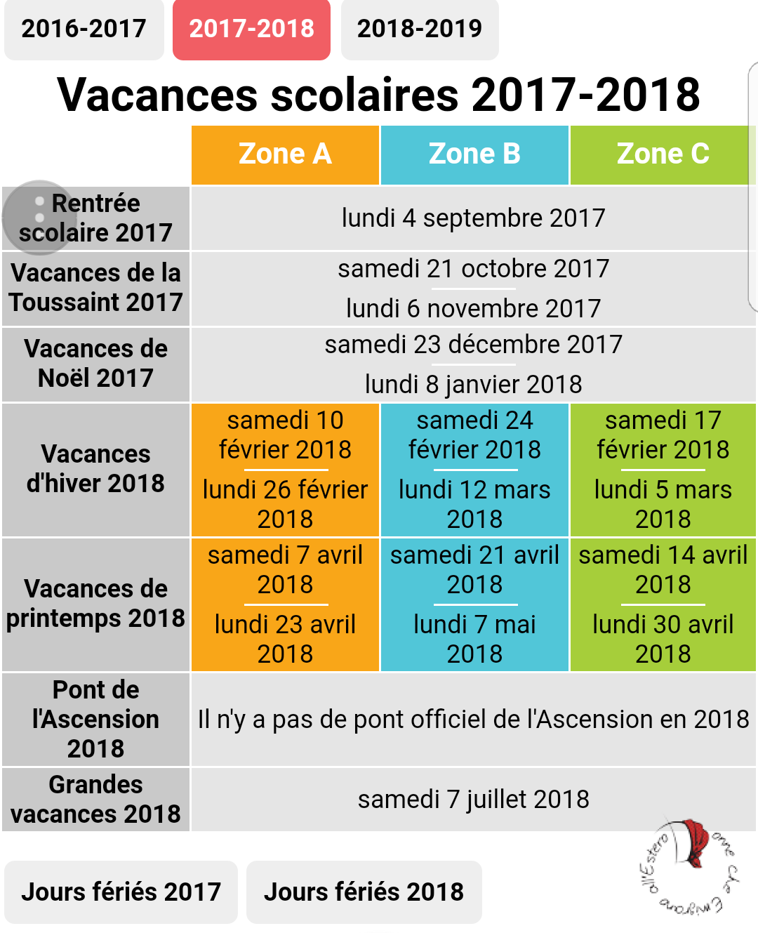 scuola francese-vacanze