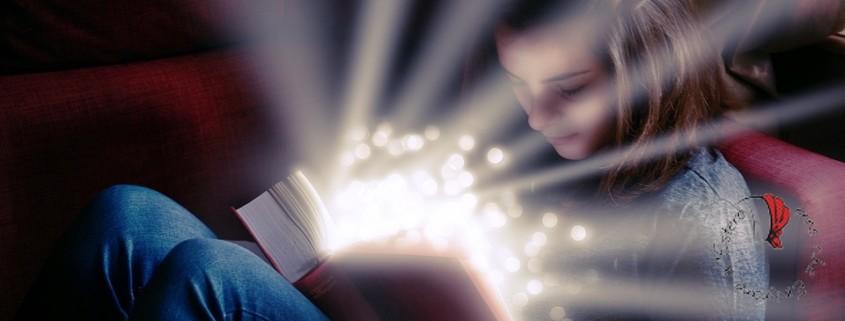 bambina legge libro magico