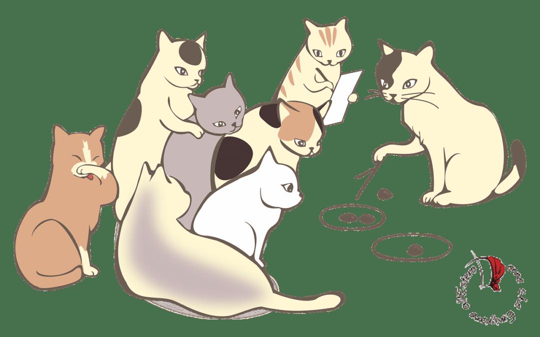 disegno gruppo gatti